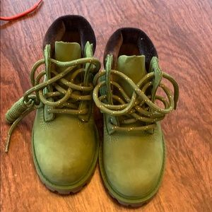 New Timberland green boots
